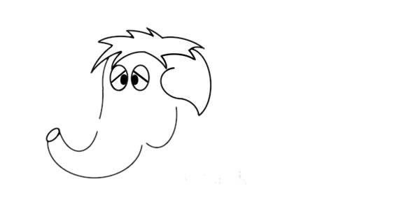 一步一步学画猛犸象儿童简笔画 中级简笔画教程-第4张