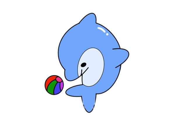 海豚怎么画又简朴又漂亮又可爱 海豚简笔画步骤图解教程 中级简笔画教程-第1张