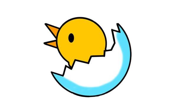 刚出生的小鸡简笔画画法 初级简笔画教程-第1张