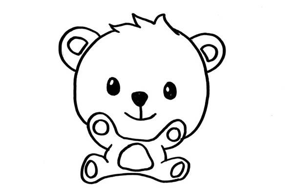 可爱的小熊简笔画彩色画法 中级简笔画教程-第3张