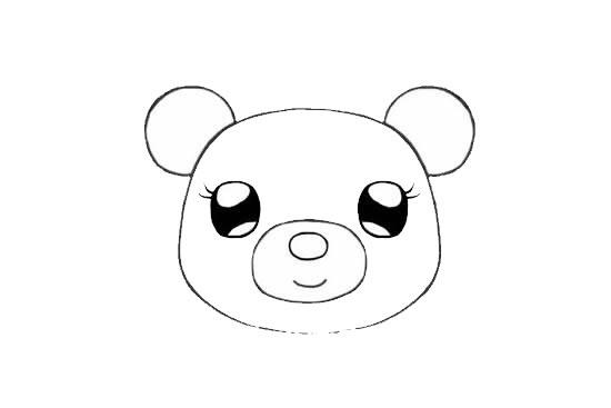 可爱的小熊姑娘简笔画画法步骤步骤图片 动物-第5张