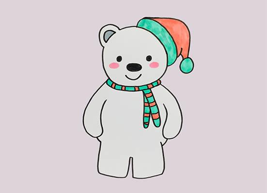 卡通北极熊简笔画,北极熊怎么画简朴又悦目 中级简笔画教程-第1张