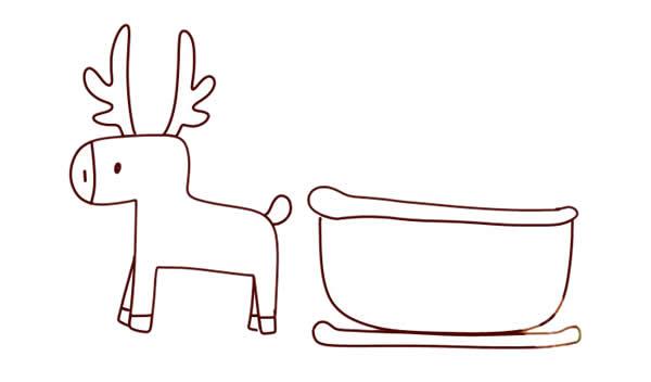 圣诞麋鹿车简笔画画法 动物-第4张