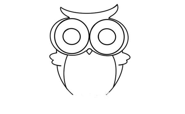 猫头鹰怎么画 可爱呆萌猫头鹰简笔画步骤图解教程 中级简笔画教程-第5张