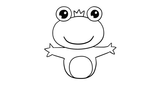 青蛙王子简笔画彩色图片 动物-第6张