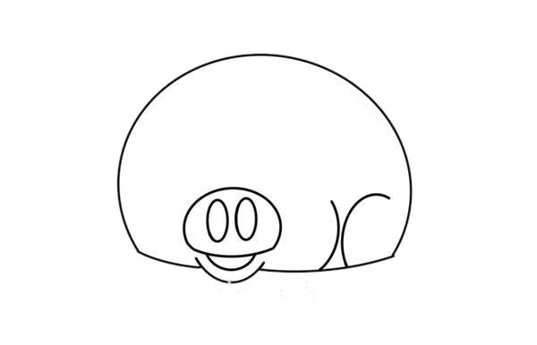 卡通小香猪简笔画步骤图解教程 中级简笔画教程-第3张