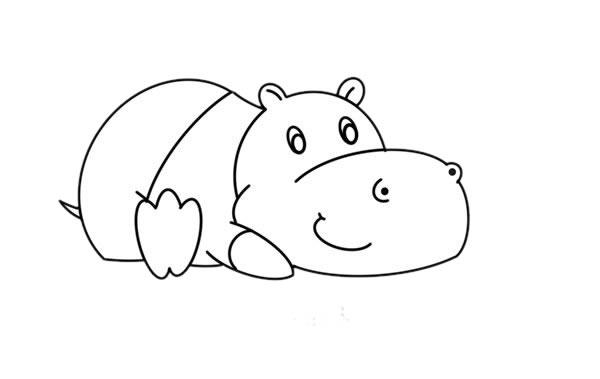 教小朋友画简单的河马简笔画 中级简笔画教程-第6张