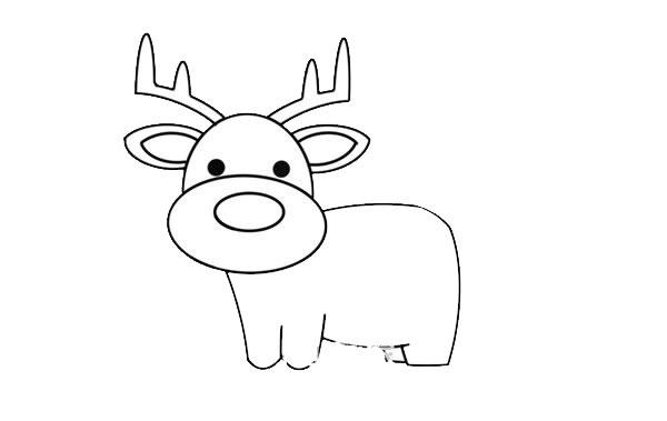 驯鹿怎么画简朴又悦目 驯鹿简笔画步骤画法教程 中级简笔画教程-第5张