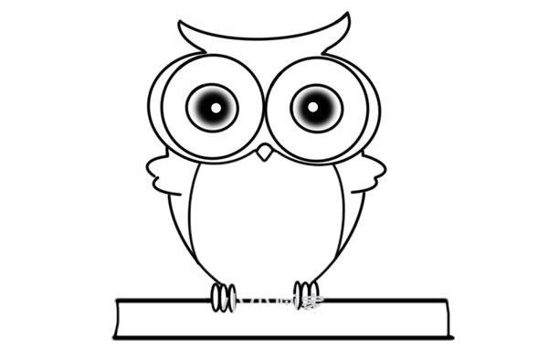 猫头鹰怎么画 可爱呆萌猫头鹰简笔画步骤图解教程 中级简笔画教程-第6张