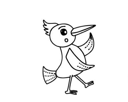 啄木鸟怎么画,儿童简笔画啄木鸟画法 中级简笔画教程-第11张