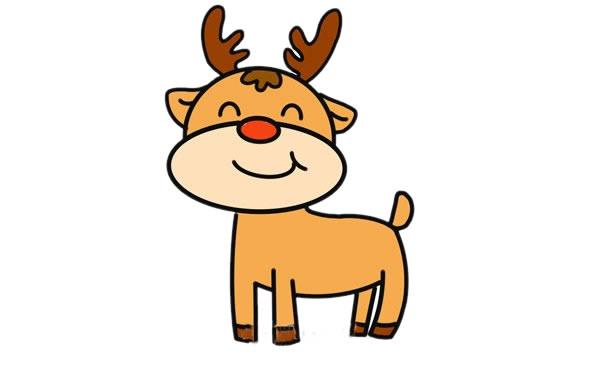 可爱的卡通驯鹿简笔画画法 中级简笔画教程-第1张