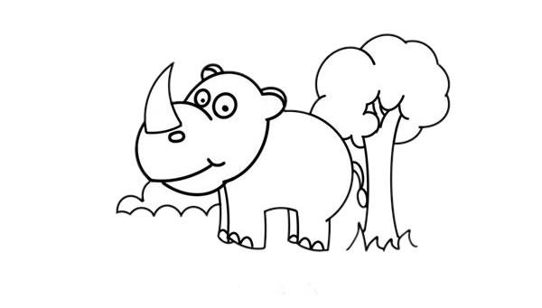 儿童画犀牛简笔画,犀牛的简单画法 中级简笔画教程-第5张