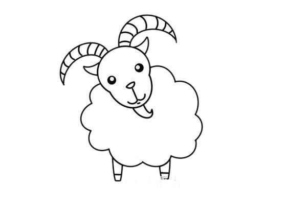 山羊简笔画,彩色山羊简笔画画法 初级简笔画教程-第5张