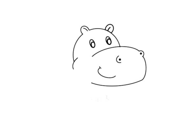 教小朋友画简单的河马简笔画 中级简笔画教程-第4张