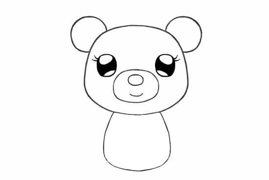 可爱的小熊姑娘简笔画画法步骤步骤图片 动物-第6张
