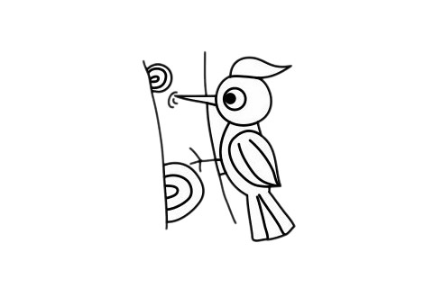 啄木鸟怎么画,儿童简笔画啄木鸟画法 中级简笔画教程-第1张