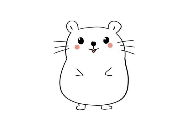 超萌可爱小仓鼠简笔画 卡通仓鼠简笔画彩色画法 中级简笔画教程-第4张