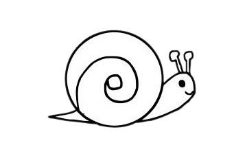 可爱蜗牛简笔画步骤图片大全 初级简笔画教程-第2张
