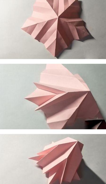 五角星花折纸教程图解 手工折纸-第10张
