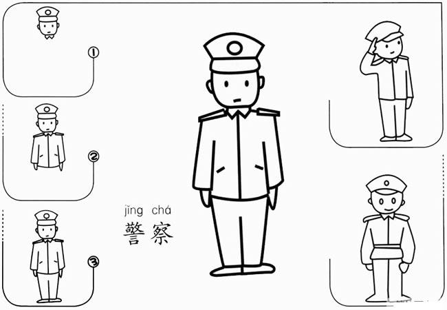 【警察简笔画】敬礼的警察怎么画 中级简笔画教程-第1张