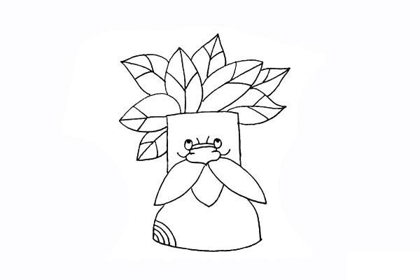 树爷爷画法步骤 卡通树爷爷简笔画彩色画法步骤图教程 植物-第10张