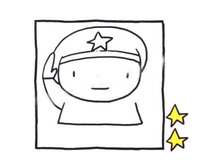敬礼的军人简笔画画法步骤 中级简笔画教程-第3张