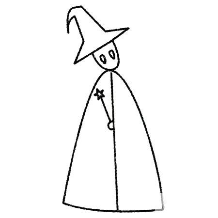 魔法师简笔画的画法步骤 中级简笔画教程-第5张