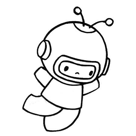 宇航员简笔画图片五步画出 中级简笔画教程-第4张