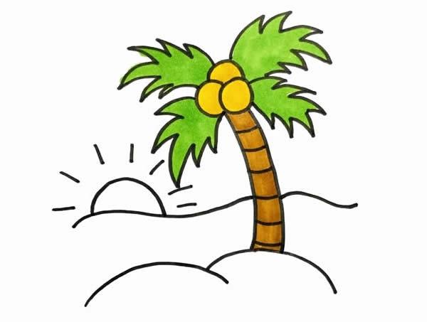 海边风景简笔画,椰子树简笔画 植物-第4张