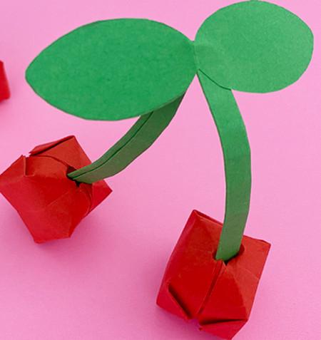 折纸樱桃步骤图解法 手工折纸-第1张