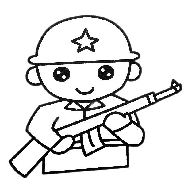 军人简笔画填色图 中级简笔画教程-第2张