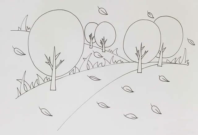 秋天风景简笔画彩色画法图片 植物-第4张