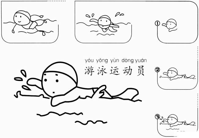 【游泳运动员简笔画】花样游泳运动员简笔画的画法步骤图 人物-第1张