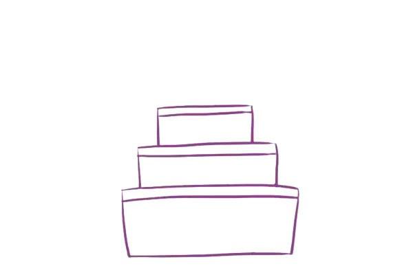 三层生日蛋糕简笔画,儿童简笔画蛋糕画法 初级简笔画教程-第4张