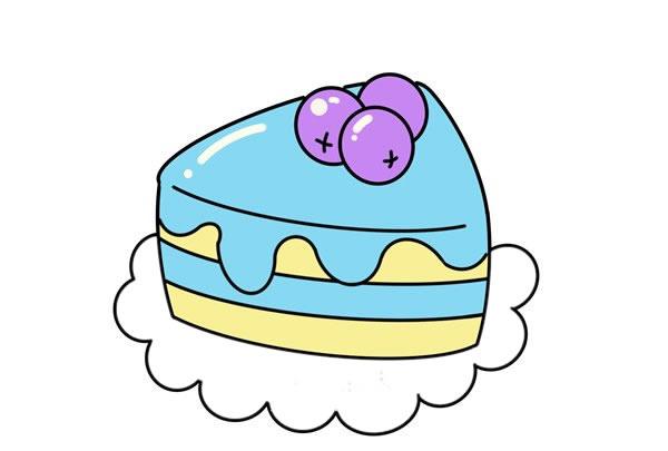 蓝莓蛋糕简笔画图片