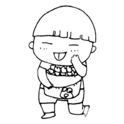 活泼可爱的小男孩简笔画画法 中级简笔画教程-第5张