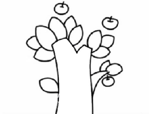 苹果树简笔画儿童画法 中级简笔画教程-第4张