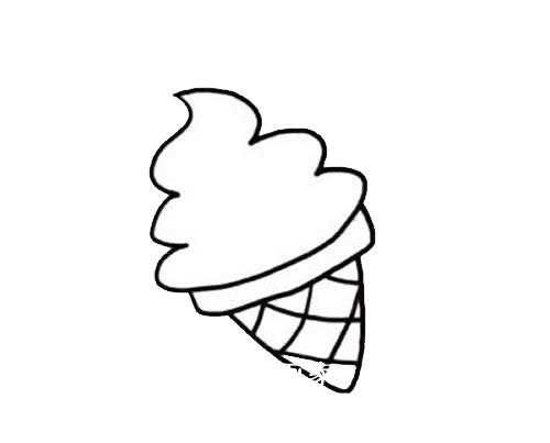 彩色冰激凌简笔画画法步骤图片