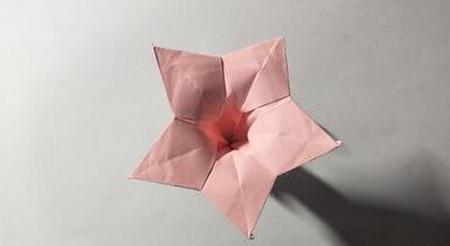 五角星花折纸教程图解 手工折纸-第1张