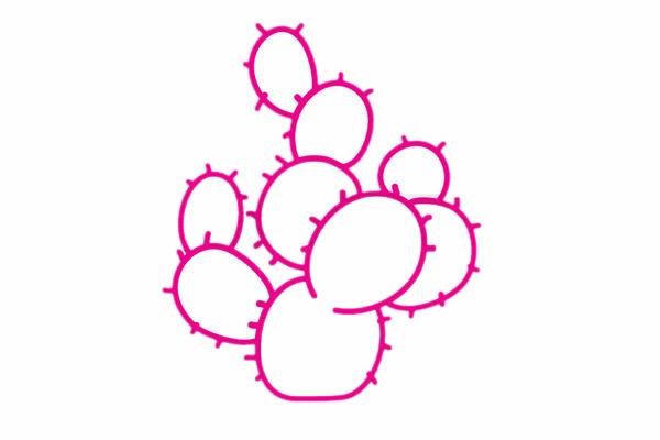 仙人球简笔画分步骤画法 初级简笔画教程-第6张