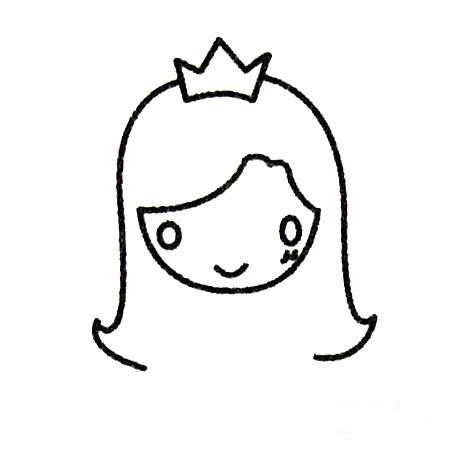 公主简笔画线稿画法步骤 中级简笔画教程-第3张