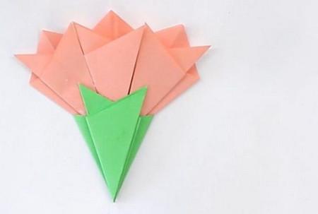 康乃馨手工折纸花步骤图解 手工折纸-第1张