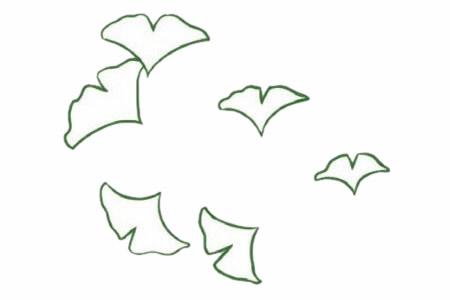 银杏树叶简笔画的画法 初级简笔画教程-第3张
