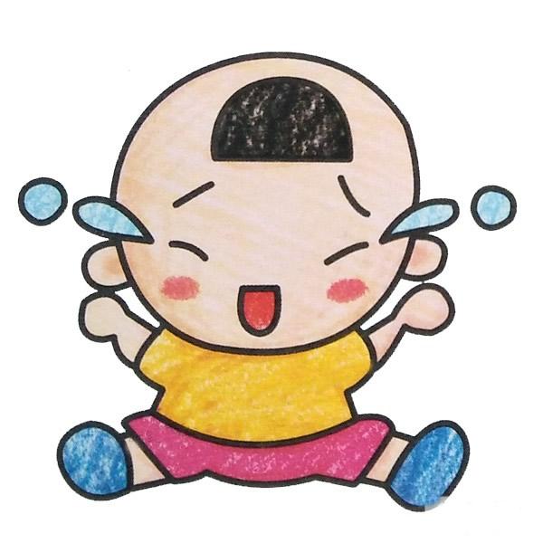 小宝宝简笔画彩色图片 人物-第1张
