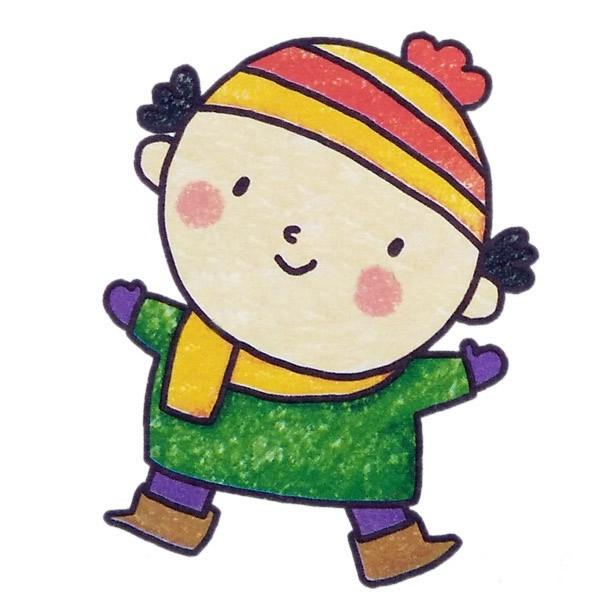 冬季男孩简笔画 人物-第2张