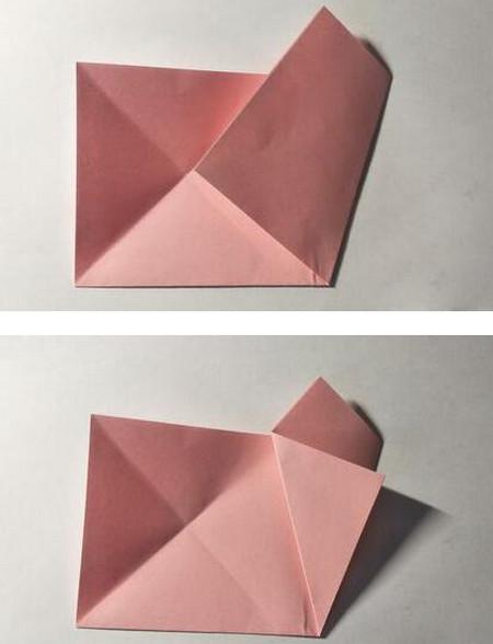 五角星花折纸教程图解 手工折纸-第4张