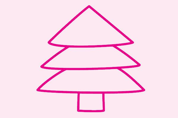 超简单的圣诞树简笔画画法 初级简笔画教程-第3张