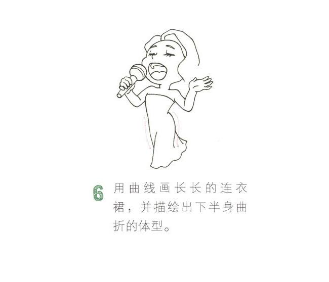 全彩女歌手简笔画画法教程 中级简笔画教程-第7张