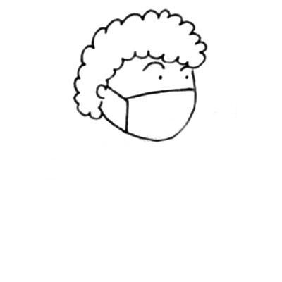 戴口罩的人简笔画 中级简笔画教程-第3张