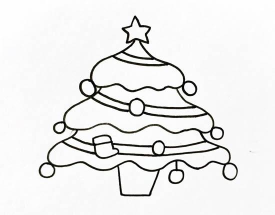 漂亮的圣诞树简笔画画法 初级简笔画教程-第4张